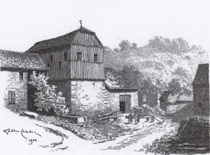 A l'arrière plan les ruines de L a Moutena. Dessin de G. Coindre 1904.
